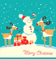 merry christmas card with deers and snowman vector image vector image