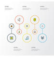multimedia icons colored line set with timbrel vector image vector image