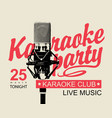 music banner for karaoke party with microphone vector image vector image