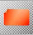 orange rectangular peel off paper sticker vector image vector image