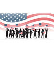 people silhouettes holding united states flags vector image vector image