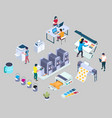 printing services flat 3d isometric vector image vector image