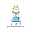profesional businesswoman with laptop and vector image vector image