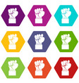 raised up clenched male fist icon set color vector image vector image
