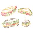 sandwiches breakfast imbiss snack vector image vector image