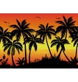 Seamless Landscape Palms Ocean and Birds vector image