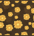 seamless pattern with golden daisy flowers vector image