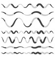 set of various wavy curved dashed line stripe vector image