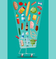 shopping cart with fresh products vector image vector image