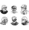 sketches faces various elderly men vector image