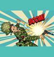 soldier and explosion death in war vector image