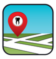 Street map icon with the pointer dental services vector image vector image