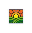 sunrise farm logo icon design vector image