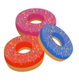 sweet donut in flat style vector image vector image