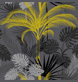 tropical pattern with gray background and palm vector image vector image