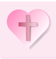 True cross in pink heart on pink background vector image vector image