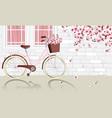 vintage bicycle parking beside wall vector image