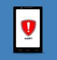 warning symbol on a cellphone cyber attack vector image