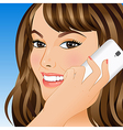 Young woman talking on mobile phone vector image