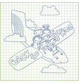 group of schoolchildren fly in an airplane vector image