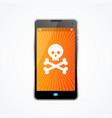 mobile phone hack crash attack software concept vector image