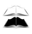 an open book on the table simple black outlines vector image vector image
