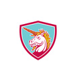 Angry Unicorn Head Shield Cartoon vector image vector image
