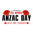 anzac poppy flower icon for world war memorial day vector image