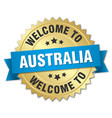 australia 3d gold badge with blue ribbon vector image vector image