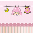 Baby gir arrival announcement card vector image vector image