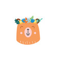 bear head summer sticker or fashion patch flat vector image vector image
