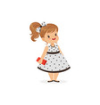 beautiful little girl in polka dot dress young vector image