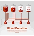 Blood donation and blood types concept scheme vector image