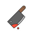 bloody cleaver murder tool halloween related icon vector image vector image