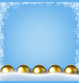 blue poster with winter border with golden vector image vector image