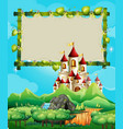 border template with palace in the mountains vector image vector image