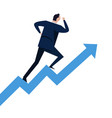 businessman running on steps growth chart going up vector image vector image