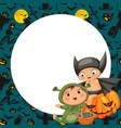 cartoon boys in mystery costumes flat poster vector image vector image