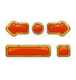 cartoon gold old red buttons for game or web vector image vector image