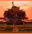 cartoon house at sunset with a halloween pumpkin vector image