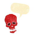 cartoon skull with speech bubble vector image vector image