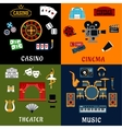 Casino music cinema and theater icons vector image vector image