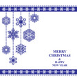christmas card with hanging snowflakes baubles vector image