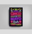 cinco de mayo poster design neon style template vector image