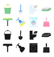 cleaning and maid blackcartoon icons in set vector image vector image
