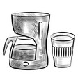 coffee making machine and plastic cup monochrome vector image vector image