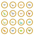 different dinosaurs icons circle vector image