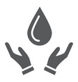drop in hands glyph icon nature and save water vector image vector image