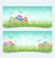 easter eggs grass banners set vector image vector image