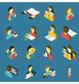 Education reading isometric icons set vector image vector image
